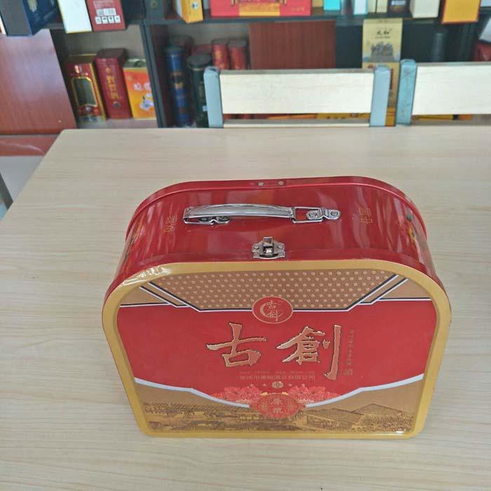 新款手提白酒铁盒包装高档礼品盒子