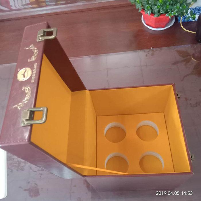 四瓶装皮质酒盒包装高档皮制礼品盒厂家供应订做