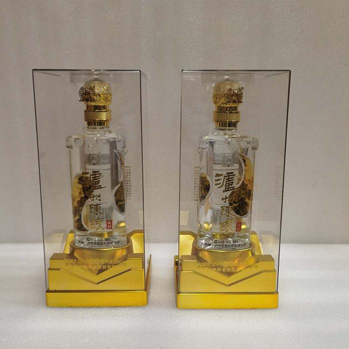 新款亚克力酒盒包装电镀UV白酒透明盒铁底座PET酒盒包装厂家供应定做