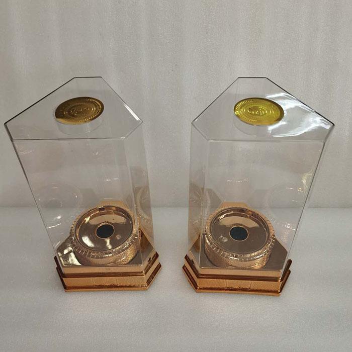 大三角形亚克力透明酒盒扁椭圆形PET白酒透明盒包装厂家供应定制